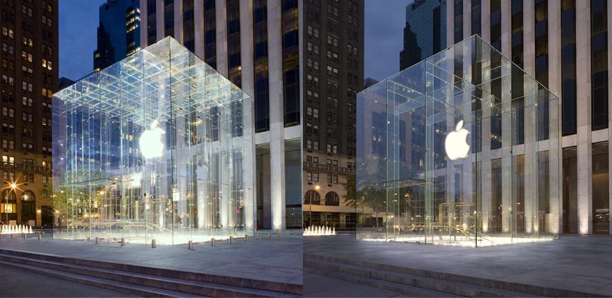 Apple Store Cube New York, pre 2011 (left) post 2011 (right)